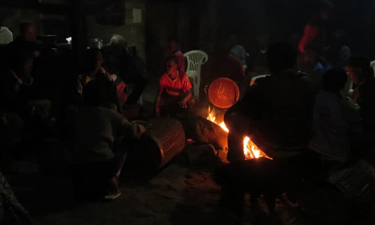 Food, community and singing around the evening fire.